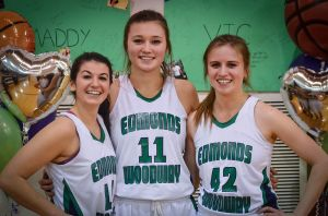 Seniors Maddy Nealey, Sidney Eck and Victoria Lebesis.