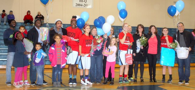 Meadowdale's four seniors - Ndey Sonko, Kearstin Franco, Mackenzie Bretz and Jaclyn Barhoum - and their families were honored during Senior Night before Thursday's game against Shorecrest.