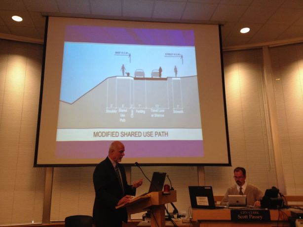 Public Works Director Phil Williams presents configuration options for the Sunset Walkway Tuesday night.