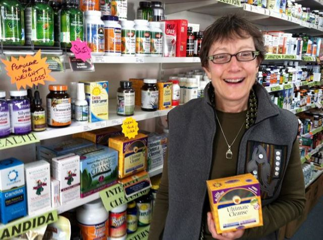 Edmonds Vitamins owner Justin Reeder in her store.