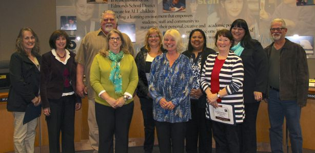 Classified employees honored, from left, are front row:  Debbie Johnsrud, (Terrace Park K-8) Chris Kratz (Lynndale Elem) Noreen Wettleson (Madrona K-8), and back row:  Cindy Scott (Edmonds-Woodway High) Gayle Tennant (Spruce Elementary) Phil Geveshausen( Transportation) Lisa Omdahl (Alderwood Middle School) Rachelle Lanzon (Brier Elementary)Beth Strock (Lynndale Elementary) Kevin McCoy (Westgate Elementary).