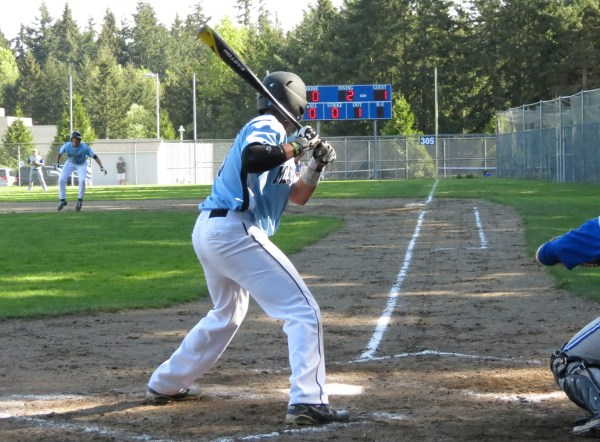 Meadowdale's Alex Thompson bats against Shorewood. (Photo by Marshall Reece)