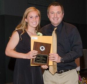 Grace Douglas with Lynnwood High Athletic Coordinator Rob McMains. (Photos by Karl Swenson)