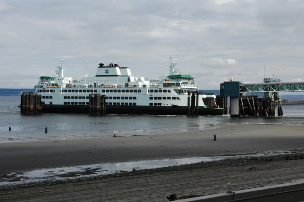 "From Tom Dockins, who caught the state's newest ferry Tokitae docking at Edmonds.  ""Since it was only docked for about 5 minutes (one car, no passengers), I assume it's still on sea trials,"" Dockins said. According to this posting on the Washington State Ferries website, the 144-car Tokitae will be put into service on the Mukilteo-Clinton run."