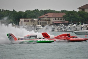 Oberto and Graham Trucking battle in first heat of the day.