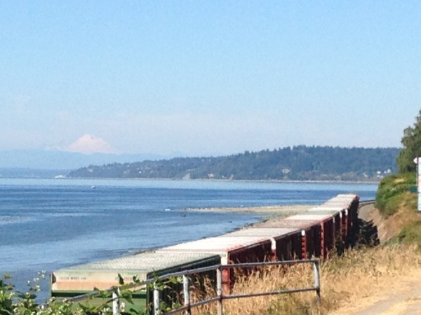 From Jennifer Benson: With Mount Baker as a backdrop, a cargo train travels along the Edmonds waterfront Wednesday on yet another 80-plus-degree day.