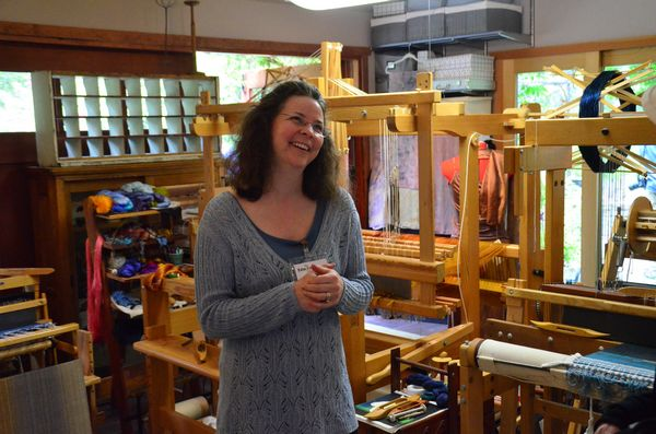 Heather McGilvery uses natural dyes collected from plants in her garden to color original scarves and other woven items.  She dyes and weaves the cloth on site, and can't make items fast enough to keep up with demand.  In addition to the Edmonds in Bloom tour, Heather's studio is a regular stop on the Edmonds Art Studio tour each fall.