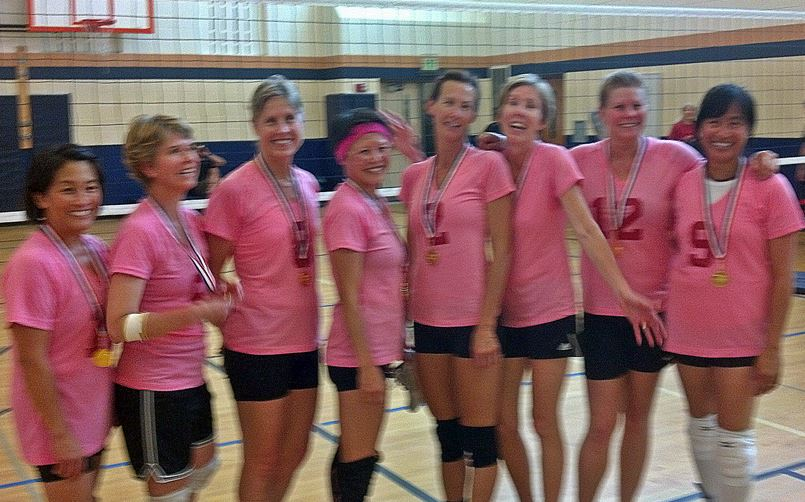 Winning volleyball team from left: Julianne Tosaya, Diane Torre, Cynthia Johnston, Linda Coburn, Diana Barlow, Tammy Carlswell, Lori Jordan, Eva Ammons