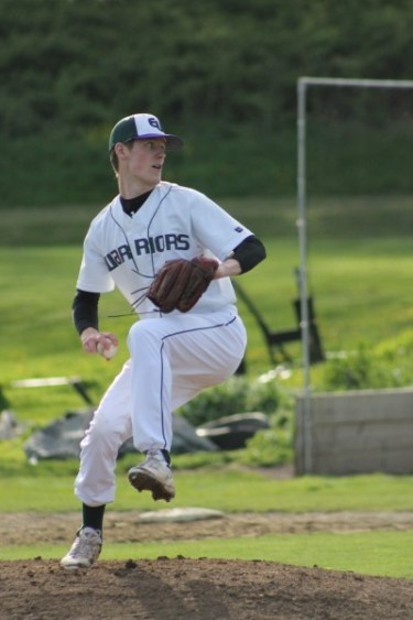 E-W senior Brady Edwards gave up just two hits while striking out six to lead the Warriors to a 7-0 win over the Mountlake Terrace Hawks on Wednesday.