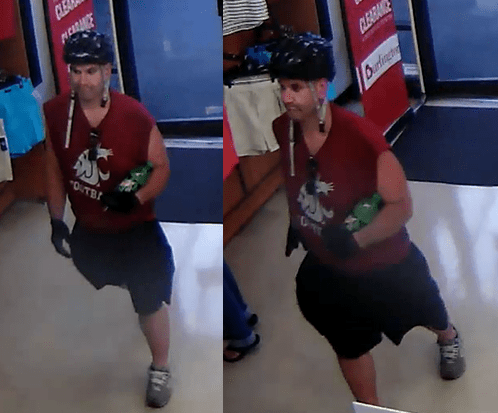 Edmonds police are seeking this man, who  went into Burlington Coat Factory on Highway 99 July 2, tried on a pair of athletic shoes, then ran out of the store wearing them. If you recognize him, call 9-1-1.