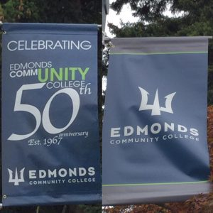 New banners on campus celebrating the school's 50th anniversary also sport a new logo featuring the Triton, the school's mascot.