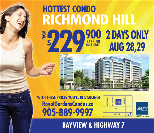 Royal Gardens Condos in Richmond Hill – Two Day Sale – Prices from $229,900