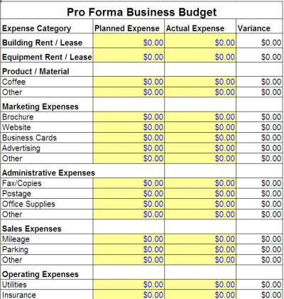 Pro Forma Business Budget Template | Pro Forma Business Template