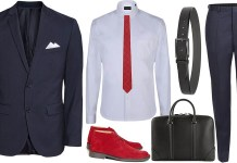 mens red boots navy blue trousers navy blue jacket light blue shirt red tie black briefcase