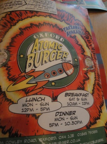 Atomic Burger Menu Cover