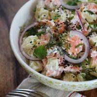 Warm potato salad with Scottish smoked salmon - Salade de pommes de terre au saumon d'Ecosse