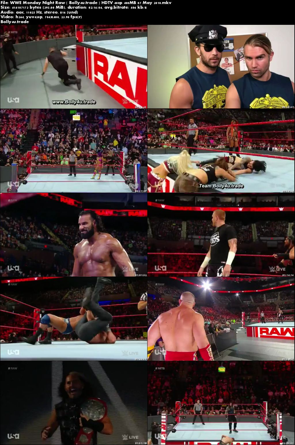 WWE Monday Night Raw HDTV 480p 400MB 07 May 2018