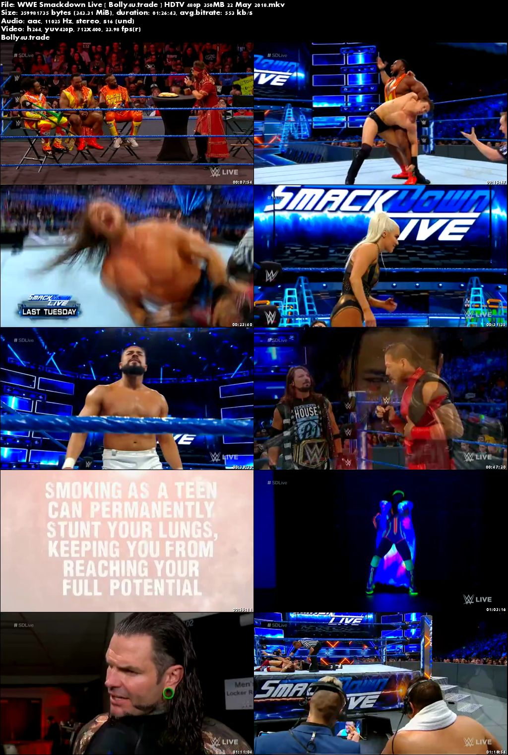 WWE Smackdown Live HDTV 480p 350MB 22 May 2018 Download