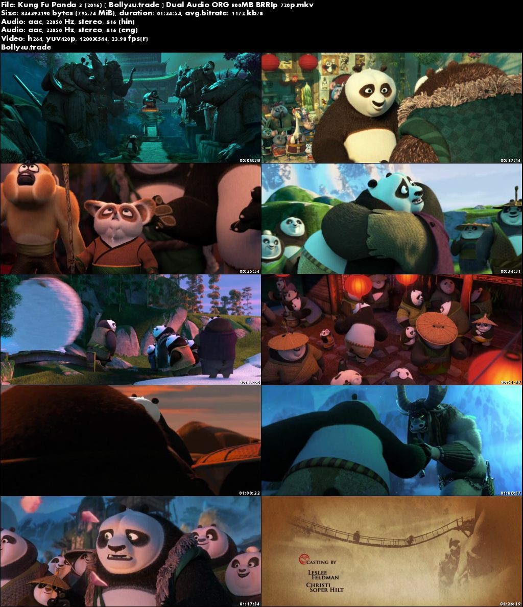 Kung Fu Panda 3 2016 BRRip 800MB Hindi Dual Audio ORG 720p Download