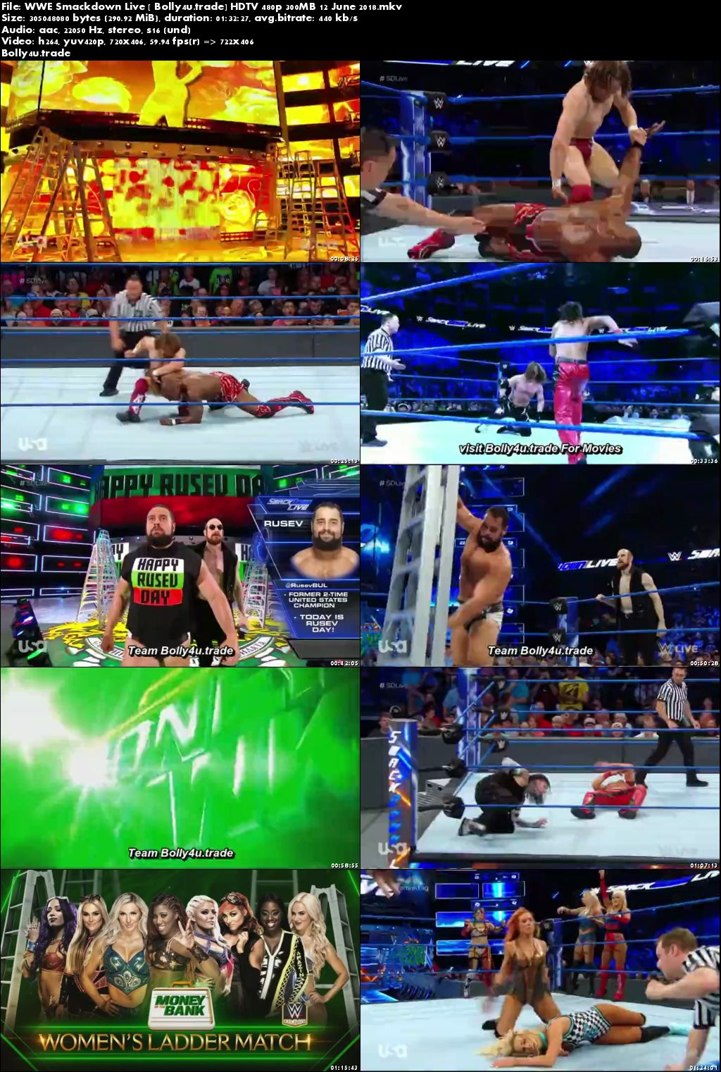 WWE Smackdown Live HDTV 480p 300MB 12 June 2018 Download