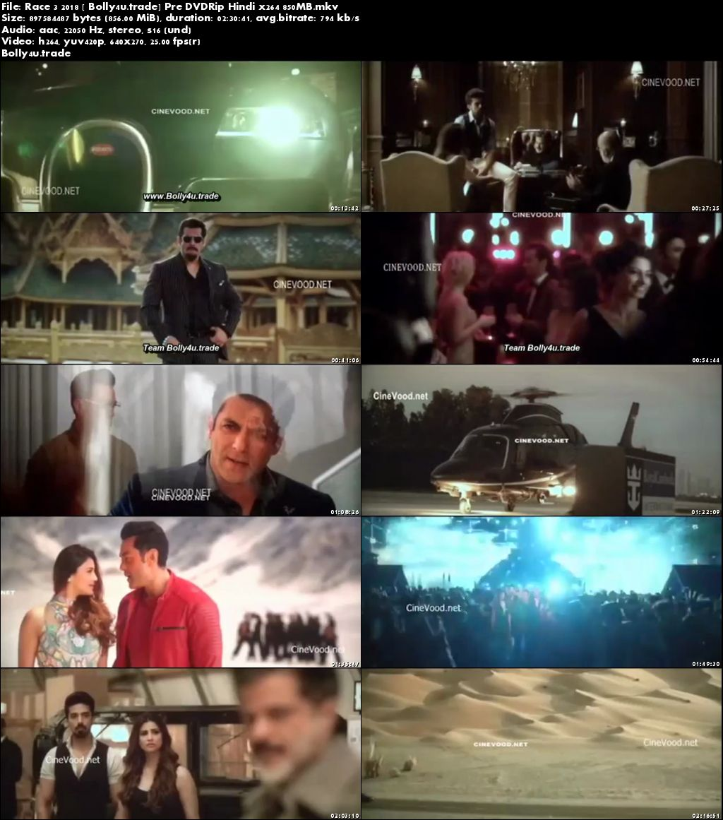 Race 3 2018 Pre DVDRip 850MB Full Hindi Movie Download x264