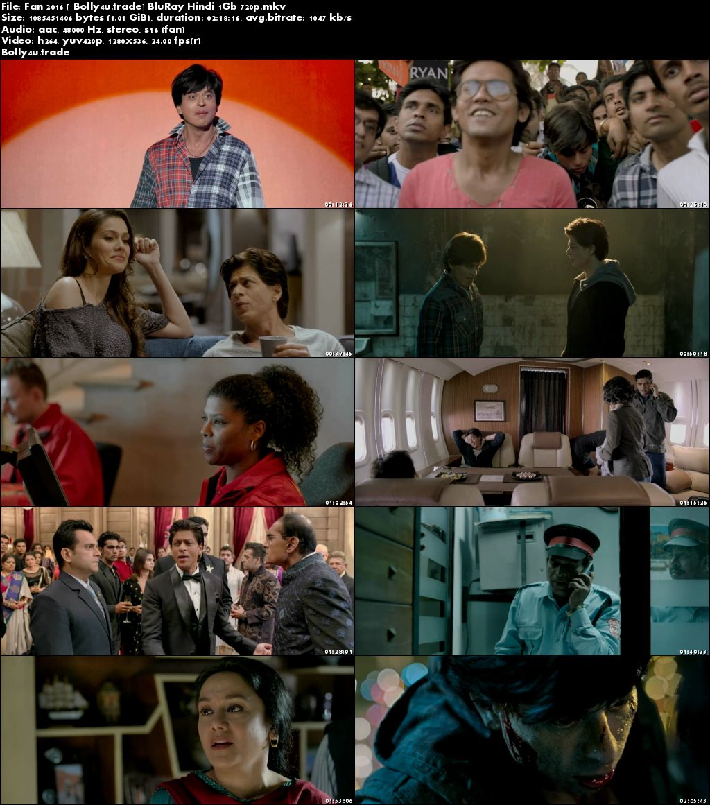 Fan 2016 BluRay 1Gb Full Hindi Movie Download 720p