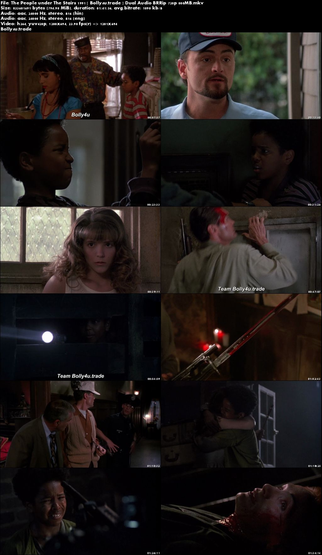 The People Under The Stairs 1991 BRRip 350MB Hindi Dual Audio 480p Download