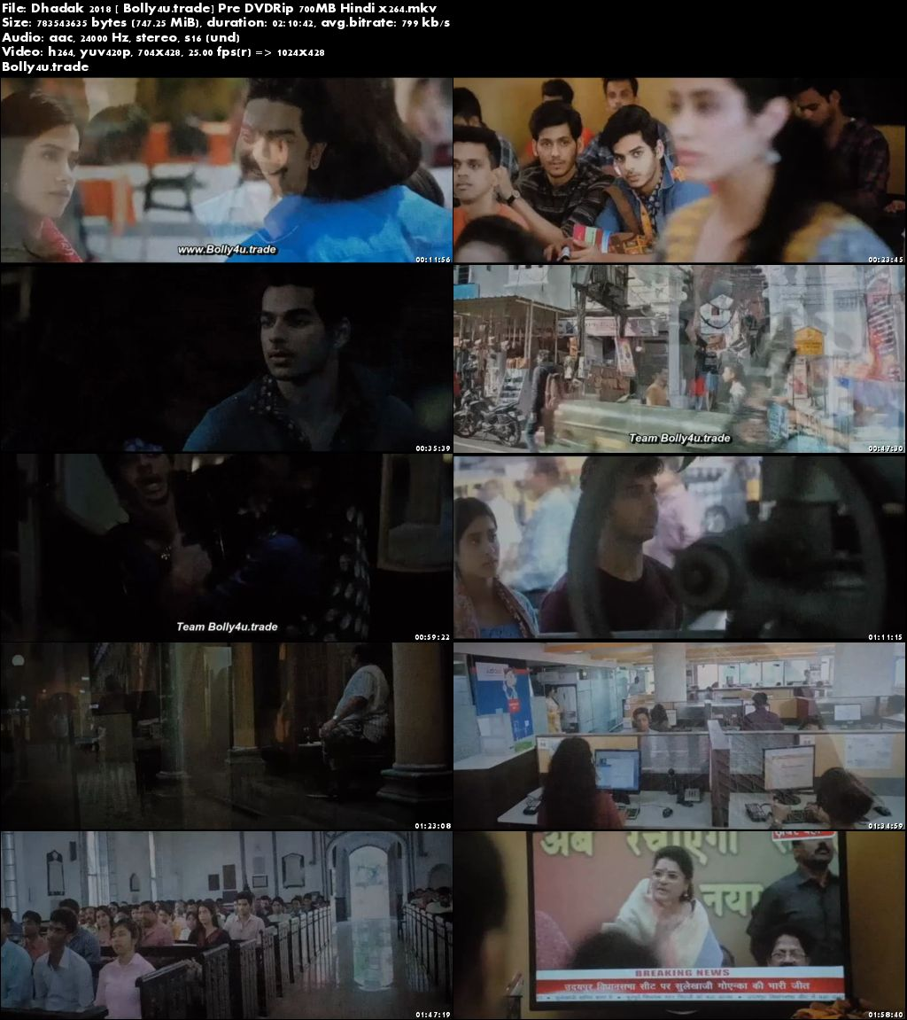 Dhadak 2018 Pre DVDRip 700MB Full Hindi Movie Download x264