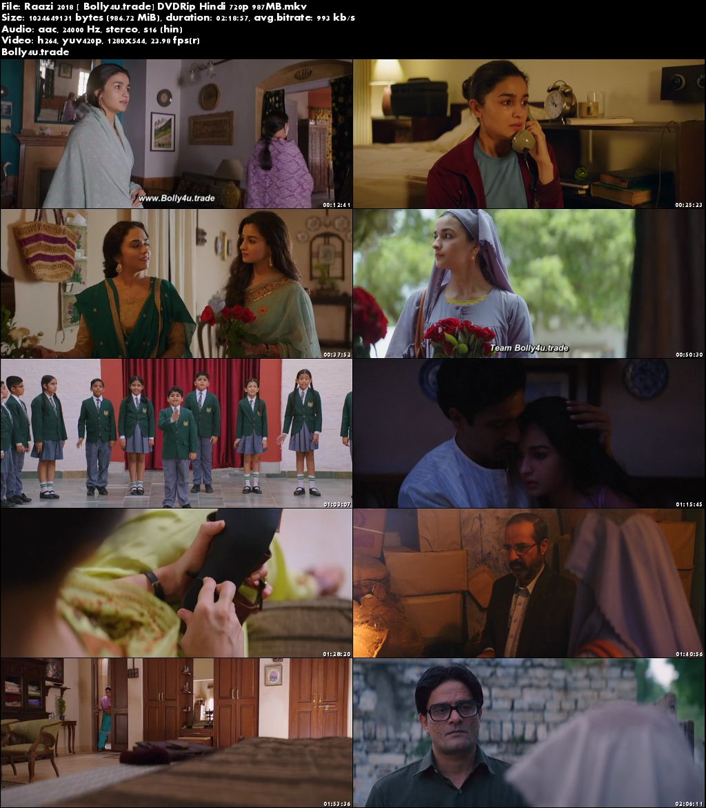 Raazi 2018 DVDRip 400Mb Full Hindi Movie Download 480p