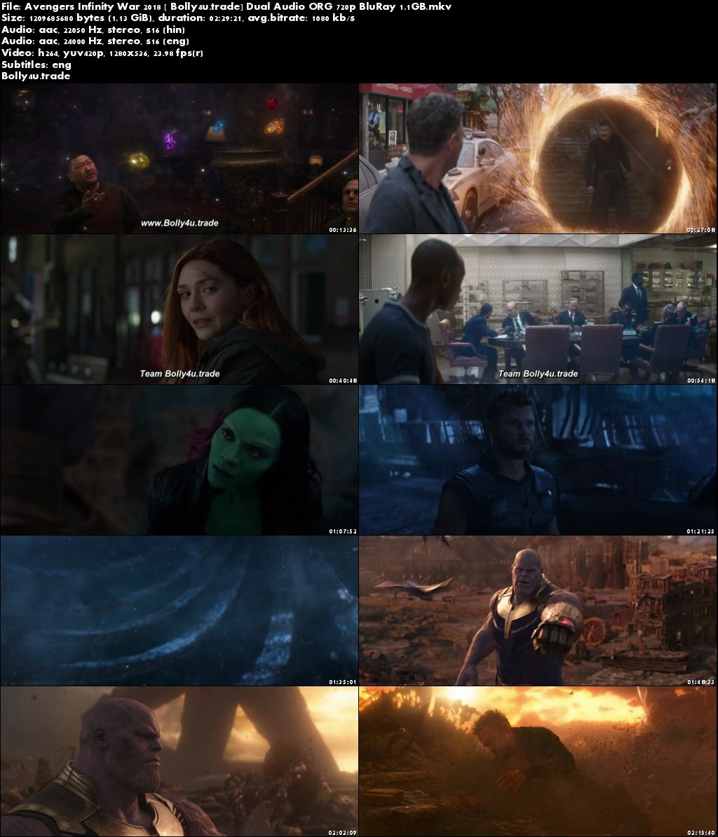 Avengers Infinity War 2018 BluRay 500MB Hindi Dubbed Dual Audio ORG 480p Download