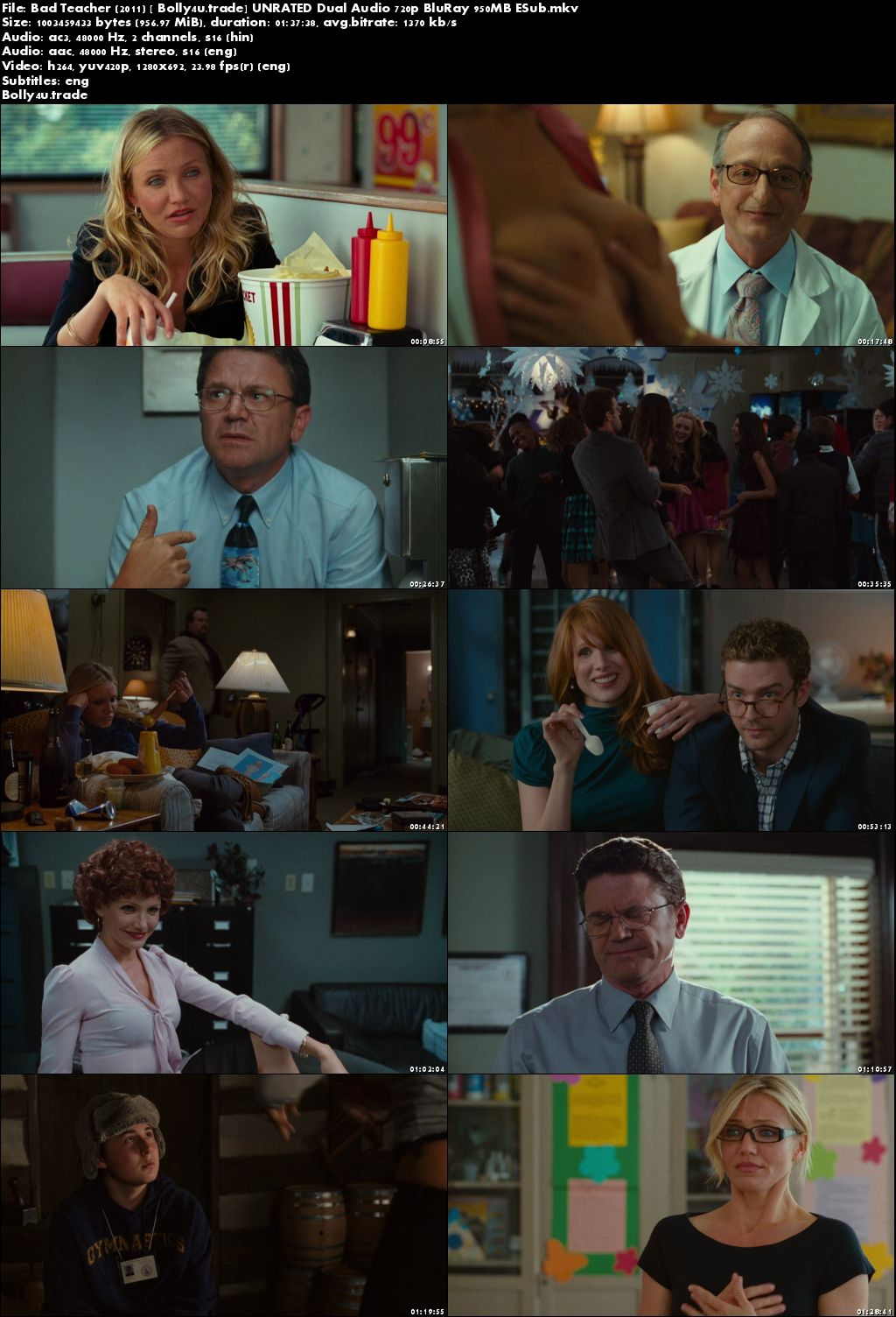 Bad Teacher 2011 BluRay 950MB UNRATED Hindi Dual Audio 720p ESub Download