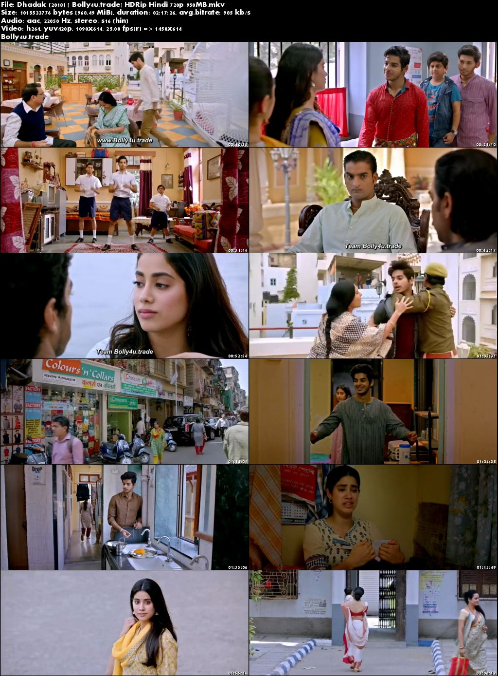 Dhadak 2018 HDRip 400Mb Full Hindi Movie Download 480p
