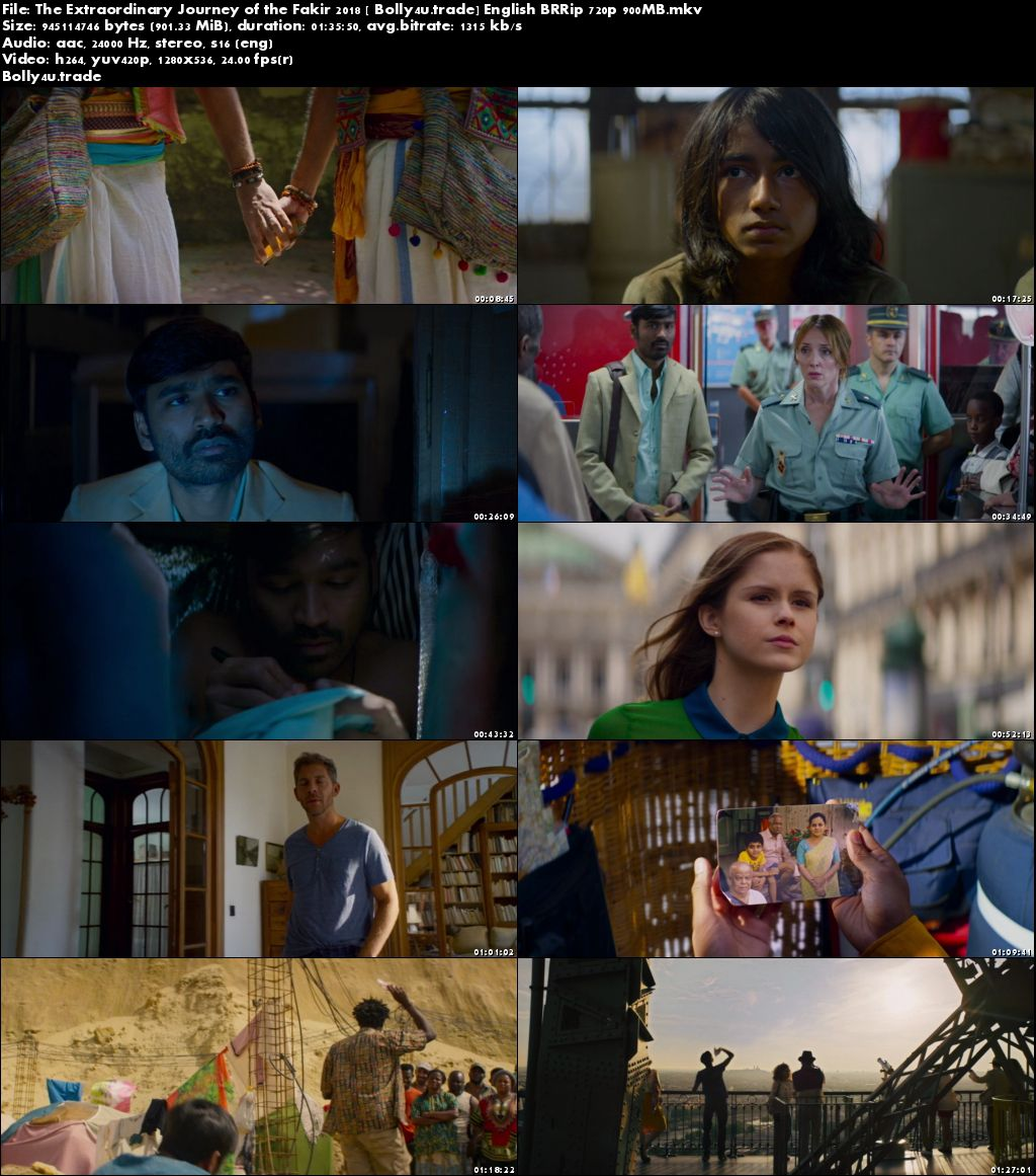 The Extraordinary Journey of the Fakir 2018 BRRip 300MB English 480p Download