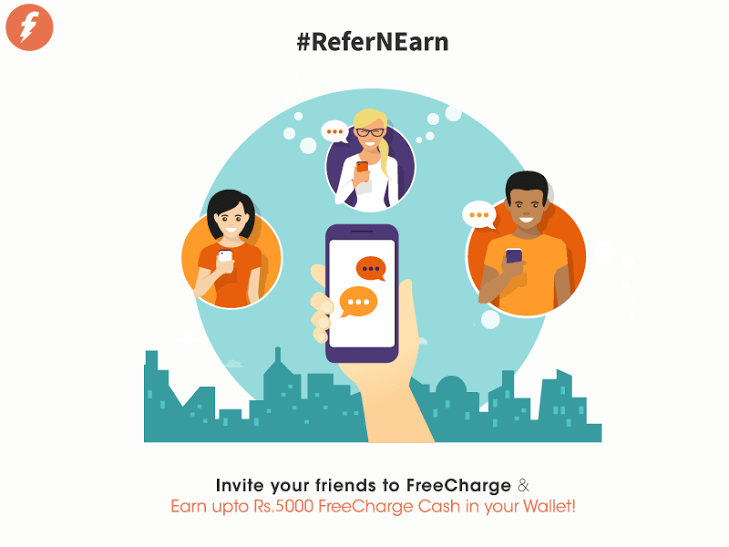 Freecharge Refer and Earn : Get Rs50 cashback on Recharge of Rs10 + Rs50/Refer