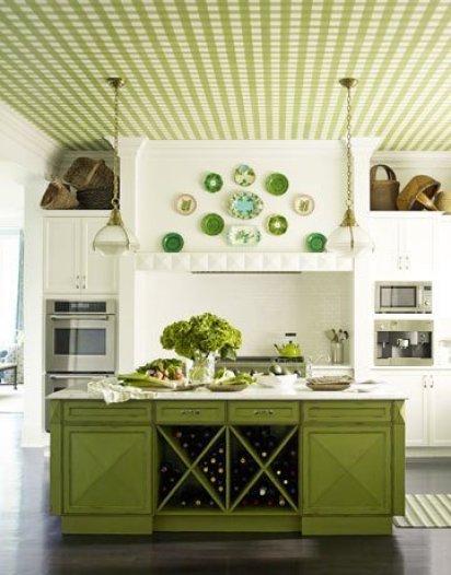 soffito a quadri bianchi e verdi