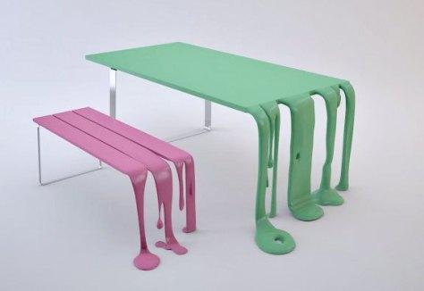eclettico artigianale smooth-and-smoothie panca e tavolo creati dal designer francese Florent Degourc
