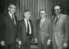 1973 Allied Jewish Campaign event. L to R: Max Fisher, Louis Pincus, Sam Frankel, Bill Berman