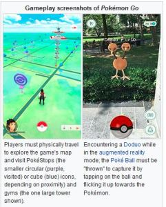 Gameplay screenshots of Pokémon Go
