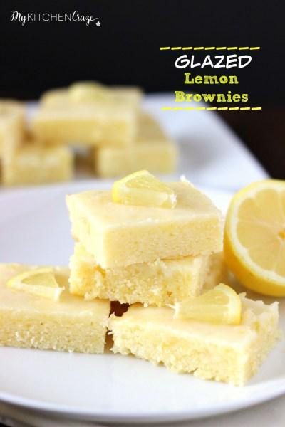 Glazed Lemon Brownies - My Kitchen Craze