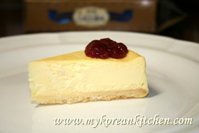 Cheese cake with strawberry jam