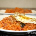 Stir fried Kimchi and Rice (Kimchi Bokkumbap in Korean) on the magazine