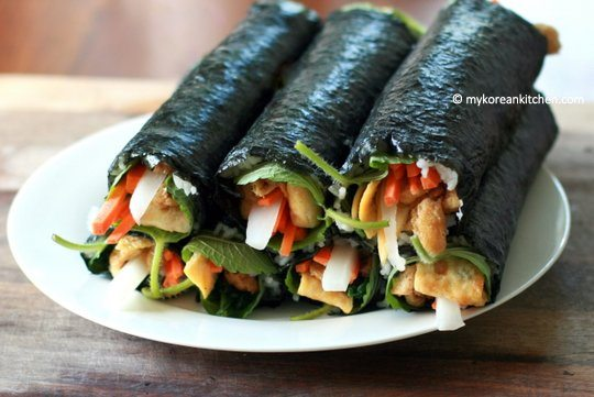 Yubu Kimbap Rolled before sesame oil