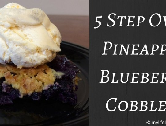Do you love cobbler but think that it is too difficult to make or clean up? Here is a simple 5 Step Oven Pineapple Blueberry Cobbler!