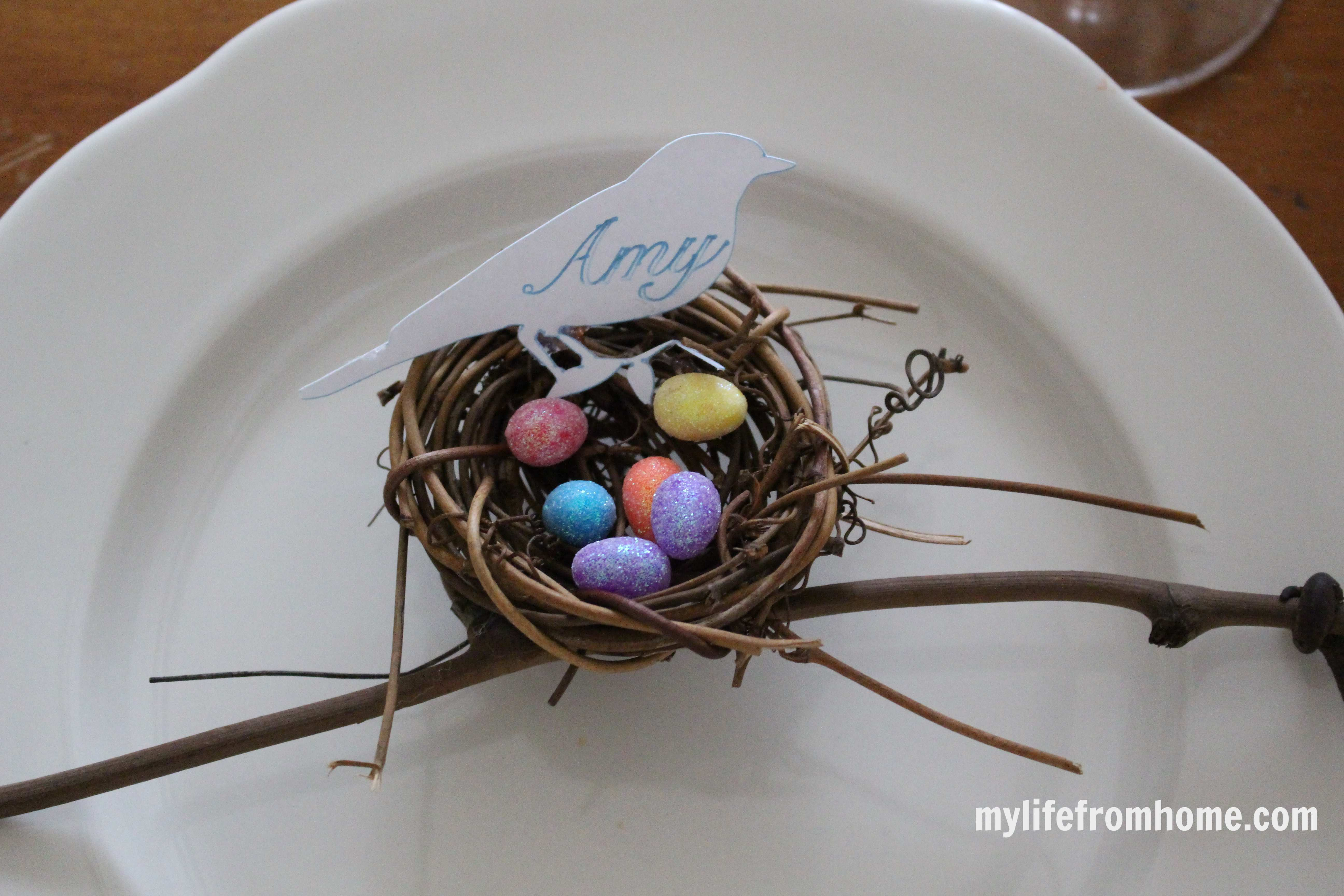 Bird's Nest Place Cards by www.mylifefromhome.com