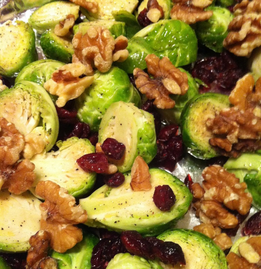 Brussel Sprouts with Cranberries and Walnuts