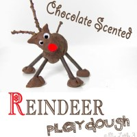 Chocolate No-Cook Play Dough Recipe-Reindeer Play