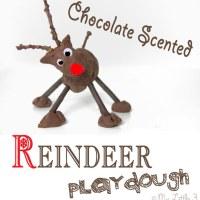 Chocolate No-Cook Play Dough Recipe-Reindeer Play
