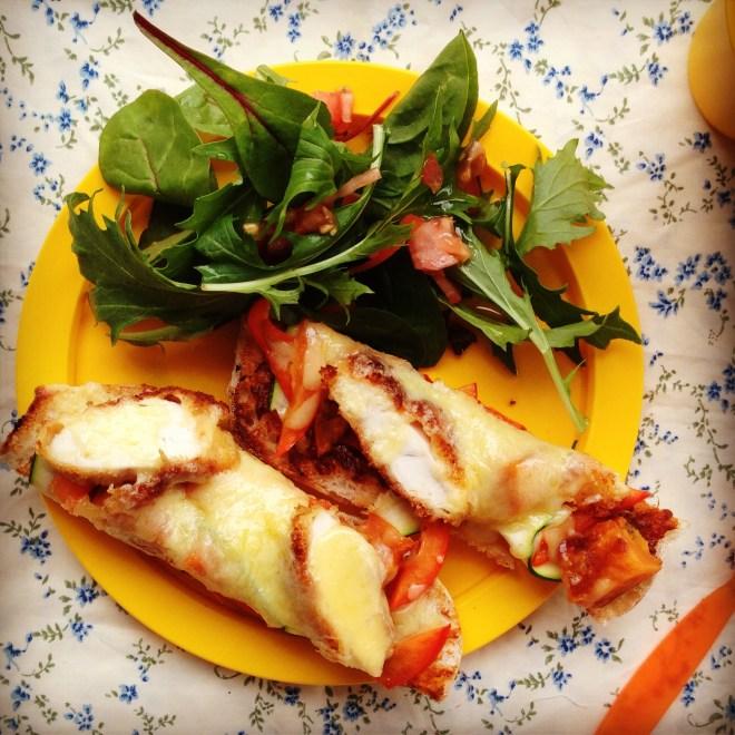 crispy chicken and vegetable melt