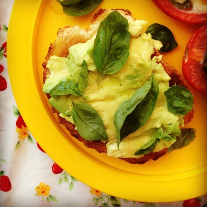 bocconcini & basil stuffed tomatoes w' smashed avo on toast