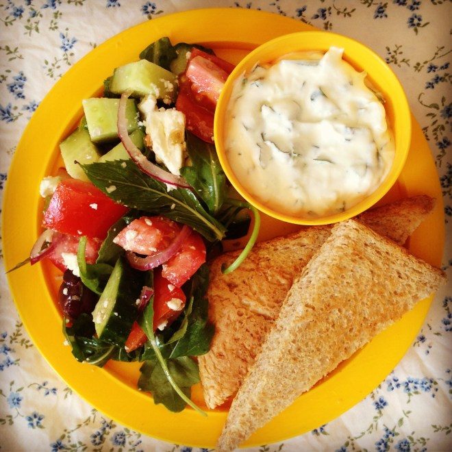 greek salad, tzatziki & flat bread